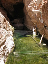 PHOTO: Devils Hole is home to a rare fish that researchers say faces a serious threat of extinction because of warming waters caused by climate change. Photo credit: Desert Reach Institute.