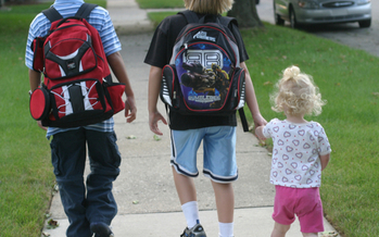 PHOTO: Students across Minnesota and the nation are being encouraged to get to class under their own power today, as part of Walk to School Day. Photo credit: Elizabeth/Flickr.