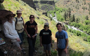PHOTO: A group including Gena Goodman-Campbell of ONDA (right) and Veronica Baker of Deschutes Brewery (second from right) hiked into Scout Camp in the Whychus-Deschutes Proposed Wilderness in June as part of a Beers Made By Walking tour. Photo credit: Eric Steen.