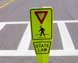 PHOTO: A new state law underscores the need for drivers in Connecticut to give right of way to those not in a vehicle. Photo courtesy of Pedestrian and Bicycle Information Center.