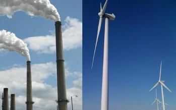 PHOTO: West Virginia can reach federal carbon pollution reduction goals, according to a new study. Combined pictures of the Mount Storm coal-fired power plant and the Tucker County Mountaineer Wind Farm from the report, taken by Evan Hansen.