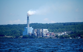 PHOTO: The coal-fired Cayuga Power Station on the shores of Lake Cayuga near Ithaca is targeted in a plan to convert it to a natural gas-burning facilities, but some area residents strenuously object. Photo credit: Philip Cohen/Wikipedia.