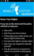 PHOTO: The shooting of unarmed teen Micheal Brown in Ferguson, Missouri has sparked interest in a new Mobile Justice smartphone app which allows users to document and report interactions with police. Image courtesy of ACLU of Missouri.