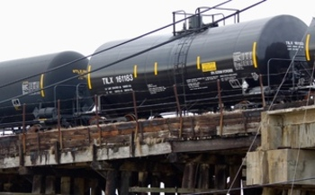 PHOTO: About two-thirds of the crude oil shipped by rail in the U.S. is transported in DOT-111 tank cars. A lawsuit alleges they aren't sturdy or safe enough for that purpose, and asks the U.S. Department of Transportation to ban their use for oil shipment. Photo credit: dhaluza/Wikipedia.