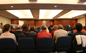 PHOTO: A packed courtroom hears closing arguments last week in San Francisco. The fate of City College of San Francisco (CCSF) now is in the hands of a judge who is deciding whether the school should lose its accreditation and close. Photo courtesy of California Federation of Teachers.