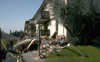 PHOTO: The collapsed Northridge Meadows apartment building following the 1994 Northridge earthquake. L.A. Mayor Eric Garcetti's retrofitting proposal calls for strengthening thousands of similar buildings with ground-floor carports. Photo credit: U.S. Geological Survey.