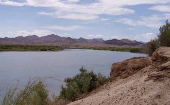 PHOTO: Seven California counties depend heavily on Colorado River water, and a new study by Arizona State University quantifies just how much their economies would suffer if less water is available. Photo of Palo Verde Dam near Blythe, Calif., by Sandra J. Owen-Boyce, U.S. Geological Survey.