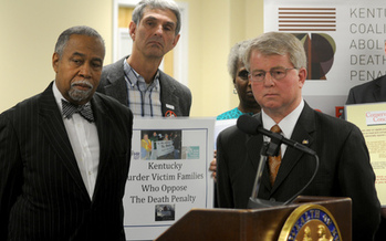 PHOTO: Sen. Gerald Neal, D-Louisville, left, and Rep. David Floyd, R-Bardstown, want prosecutors to help the state put a cost on the death penalty. Photo courtesy LRC Public Information.