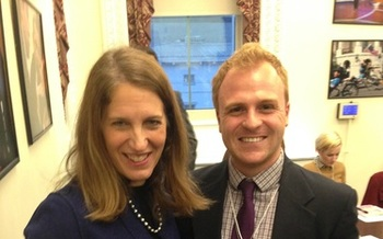 PHOTO: U.S. Health and Human Services Secretary Sylvia Mathews Burwell with Jason Donofrio from the Arizona PIRG Education Fund at a recent White House Healthy Young America Conference, which included a focus on