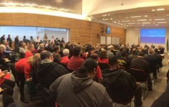 PHOTO: It was a standing-room-only crowd at Wednesday's Port of Portland Commission meeting, as workers for airport service subcontractors shared their concerns and heard commissioners' preliminary suggestions for improving Portland International Airport as a workplace. Photo credit: Jesse Stemmler.
