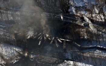 PHOTO: Environmentalists say the derailment and explosion of a train carrying crude oil in Montgomery, West Virginia, highlights the threats to drinking water and public safety from the transportation of oil and other chemicals by rail. Photo credit: The office of Governor Earl Ray Tomlin