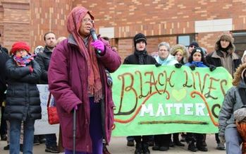 PHOTO: Activists in Urbana-Champaign say social movements like Black Lives Matter depend on the open Internet as a powerful public voice for social change. A rally on Saturday will support 'net neutrality,' in anticipation of the FCC's scheduled vote next week. Photo credit: Danielle Chynoweth.