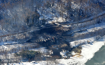 PHOTO: A witness who had to flee Monday's huge train derailment and explosion in West Virginia says it has changed how he looks at rail shipment of crude oil. Photo courtesy Office of Gov. Earl Ray Tomblin.