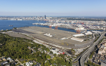 PHOTO: An aerial view of Terminal Five at the Port of Seattle shows the location at the heart of a lawsuit filed on Monday to stop oil drilling ships from being docked and repaired in Puget Sound. Photo courtesy of the Port of Seattle.
