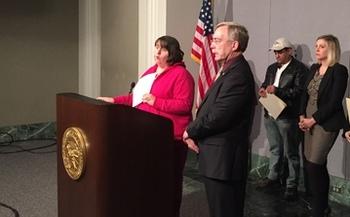 PHOTO: Minneapolis home-care worker Robin Pikala says new legislation on wage theft might have helped her when an employer went bankrupt owing her $2,000 in wages. Photo courtesy Minnesota AFL-CIO.