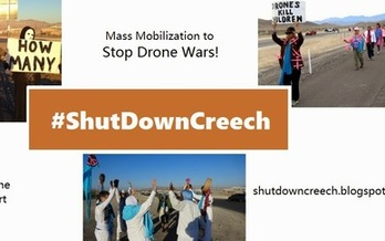 PHOTO: Protesters at Creech Air Force Base near Las Vegas claim American drones are killing 28 innocent people for every intended target in places such as Afghanistan and Somalia.