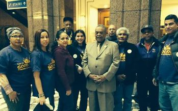 PHOTO: Senator Ed Gomes with workers as lawmakers take up the Better Jobs Act in Hartford. Credit: E. Villasante