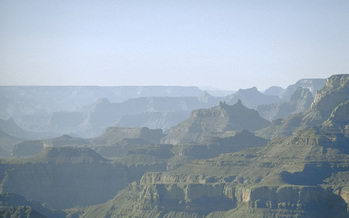 PHOTO: It is hardly a sweeping vista when it's marred by haze. The EPA says the Clean Air Act includes keeping air haze-free in national parks and wilderness areas, but several states have challenged the agency's plans to accomplish that, most recently in the Grand Canyon. Photo credit: Air Resource Specialists, Inc., for National Park Service.
