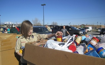 PHOTO: Boy Scouts across Utah will be collecting food Saturday in an annual effort that netted 1.6 million pounds of food last year. Photo courtesy Utah Food Bank.