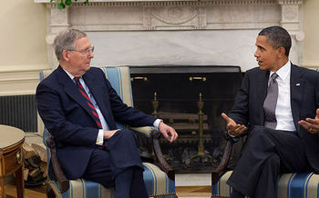 PHOTO: Senate Majority Leader Mitch McConnell and President Obama. Photo credit: Chaser/Wikimedia Commons.