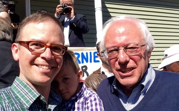Presidential candidate Bernie Sanders, right, with Will and Zeke Stewart at a recent Brunch with Bernie event in Manchester. Sanders is refusing super PAC money in his bid for the White House. Credit: W. Stewart
