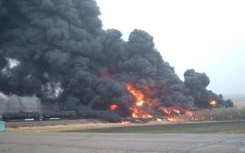 PHOTO: After another fiery oil train derailment in North Dakota, some are asking for stronger requirements on the stabilization of oil before transportation, either statewide or nationally. Photo credit: Jennifer Willis/Facebook.