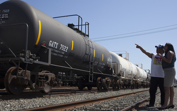 PHOTO: A federal lawsuit alleges the latest federal safety standards proposed for oil tank cars are too weak to adequately protect public safety, especially in light of the large amount of crude oil now traveling by rail. Photo credit: Chris Jordan-Bloch.