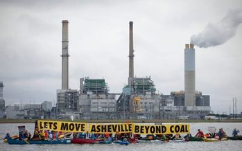 Photo: Duke Energy announced plans to retire Asheville's Lake Julian coal-fired power plant and build a natural gas and solar generation facility. Photo credit: Asheville Beyond Coal