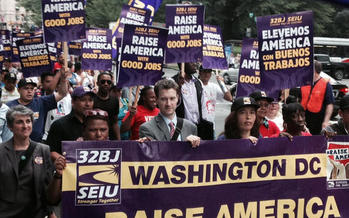 PHOTO: Commercial office cleaners are rallying on the streets to commemorate the Justice for Janitors movement, as talks begin on contracts that cover about 75,000 commercial cleaners in the eastern U.S. Photo courtesy 32BJ SEIU.