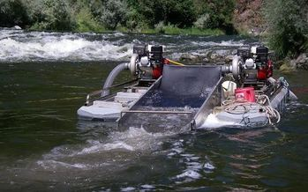 PHOTO: On Wednesday a judge in San Bernardino County ruled the use of suction dredge mining equipment will continue to be banned in the Golden State. Photo credit: Klamath Riverkeeper.