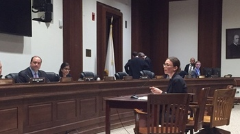 Alyssa Vangeli testifies in Boston on Tuesday for a measure that would protect patient confidentiality when accessing sensitive health services. Courtesy Health Care For All.