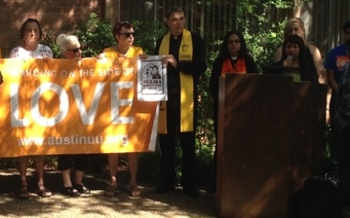 Local faith leaders urge U.S. Immigrations and Customs Enforcement to stop deportations. Credit: Bethany Carson.