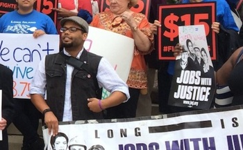 PHOTO: Workers on Long Island and across the country have been rallying to make the minimum wage a living wage, which they say means $15 an hour. Photo courtesy of Long Island Jobs with Justice.
