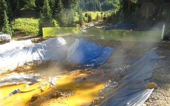Toxic sludge from the Gold King Mine spill is being treated in containment ponds such as this one. Courtesy: Environmental Protection Agency