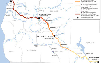 Hikers are dividing the proposed LNG pipeline route into five sections so people can join the hike as their schedules and hiking abilities allow from Aug. 22 to Sept. 26. Credit: Hike the Pipe.
