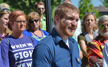 HealthEast security officer Kyle McGinn and his co-workers want the hospital chain to boost security staffing. Credit: AFSCME Council 5.