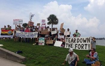 Protests began this weekend and culminate today against St. Augustine's 450th birthday celebration. Activists want an old fort and prison, the Castillo de San Marcos, torn down. Credit: Resist 450 Coalition