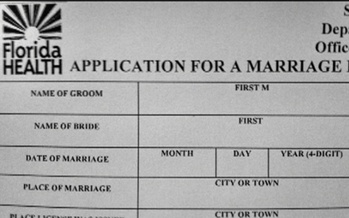 Florida marriage certificate and license applications will change today to say