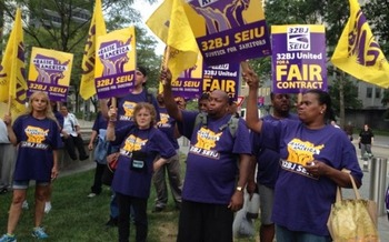 Commercial office cleaners in many eastern U.S. cities are currently negotiating new contracts. Courtesy: SEIU Local 32BJ.