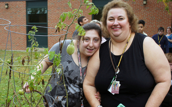 Para Educator Nancy Burke (r.) with student Taylor Warren. Courtesy: Massachusetts Teachers Association