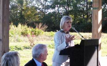 Kentucky First Lady Jane Beshear announces plans to build supportive housing for domestic-violence victims who have been living in shelters. She made the announcement Tuesday at GreenHouse17, the shelter near Lexington. Credit: Greg Stotelmyer.