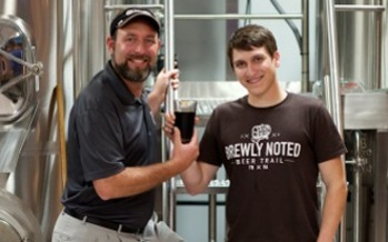The Brewly Noted Beer Trail features nine breweries in northeast Tennessee and southwest Virginia, and encourages people to visit all breweries on the trail. Pictured here is Ken Monyak (left) of Bristol Brewery and Andrew Felty (right) of the Brewly Noted Beer Trail. Credit: Rob King