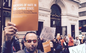 Protesters were on Fifth Avenue on Tuesday, calling attention to wealthy New Yorkers who they say are backing anti-immigrant hate speech that could once again be center stage at tonight's GOP presidential candidate debate. Courtesy: Make the Road