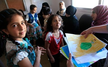 More than half the Syrian refugees heading to the United States are children. Credit: UK-DFID/Wikimedia Commons