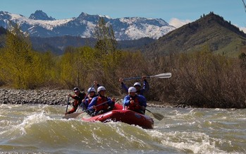 Rafters on the Wenatchee River may not mix well with helicopters landing in the nearby Enchantment Peak area. Credit: Wildwater River Guides