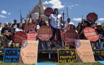 Tribes in Washington, D.C., protesting mining in Oak Flat, Ariz. Credit: Apache Stronghold