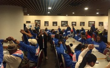 Across the country and across Virginia, as well as in the U.S. Senate cafeteria, low-wage workers protested Tuesday for $15 an hour. Photo by Fight for 15