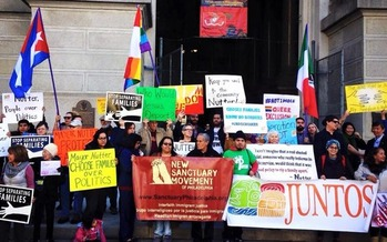 Groups opposed to changes in Philadelphia's anti-deportation policy rallied at City Hall on Friday. Courtesy New Sanctuary Movement of Philadelphia