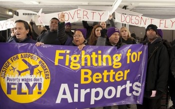 Airport workers will be stepping up their campaign for better wages, benefits and union rights.  Courtesy: SEIU/32BJ