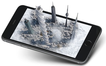 The Giving Tower is an app that lets people visualize the impact of charitable giving through a real-time, 3-D metropolis that grows as contributions mount to participating charities. Credit: CrowdRise